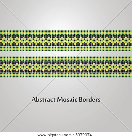 Abstract, Colorful, Mosaic Border Designs - Different Decoration Elements