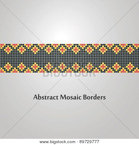 Abstract, Colorful, Mosaic Border Design - Decoration Element