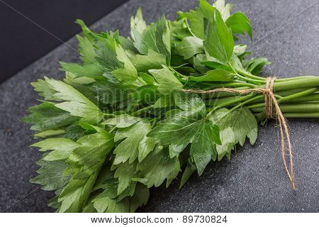 Bunch Of Fresh Lovage Leaves