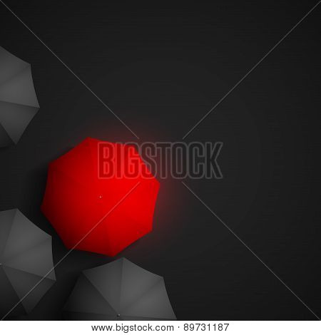 Red Umbrella On A Background Of Black Umbrellas