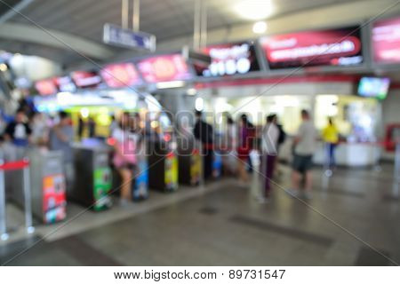 Blur Or Deofucs Image Of People Enter Subway Or Sky Train In The Station