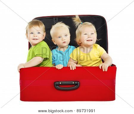 Children In Travel Case, Three Kids Travelers Inside Suitcase