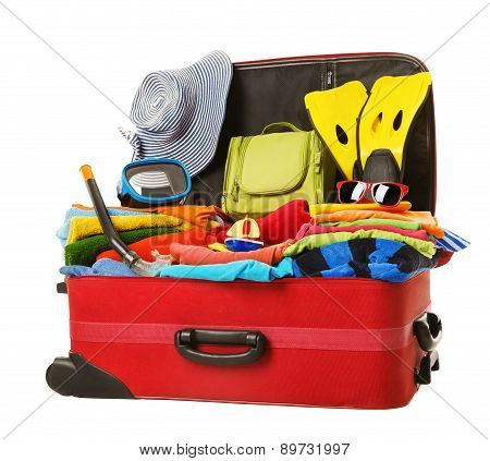 Suitcase Packed To Vacation, Open Red Luggage Full Of Clothes, Family Travel Items Baggage