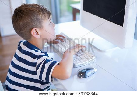 Little boy using computer in the living room at home