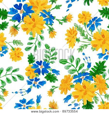 Vector hand drawn watercolor colorful seamless floral pattern with summer flowers on white background.
