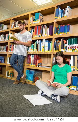 Students reading in the library at the university