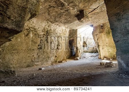 Inside of Agia Solomoni Catacomb at Paphos, Cyprus.