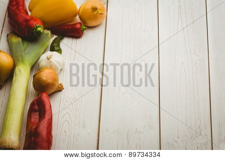 Vegetables laid out on table shot in studio