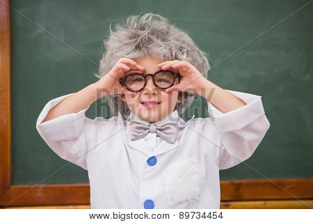 Pupil wearing peruke and eyeglasses at elementary school
