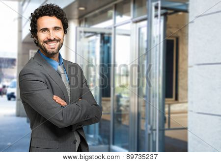 Confident male manager outdoor