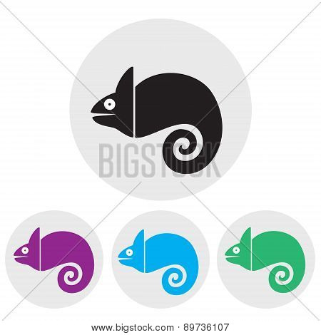 Stylized silhouette of chameleon on a light background