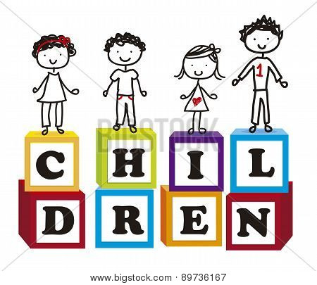 Cute Children Over Cute Blocks Over White Background Vector