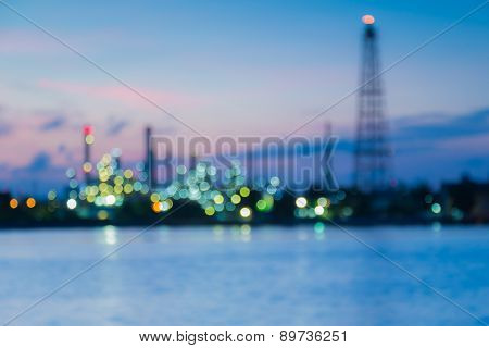 Abstract blur Bokeh of oil refinery