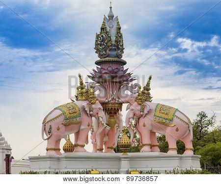 Pink three Erawan statues
