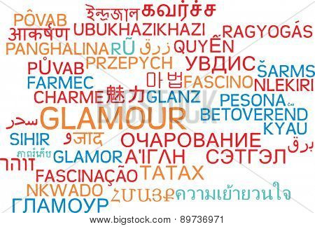 Background concept wordcloud multilanguage international many language illustration of glamour