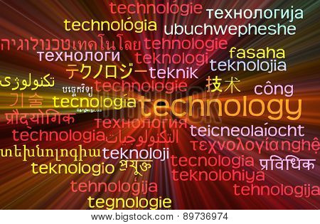 Background concept wordcloud multilanguage international many language illustration of technology glowing light