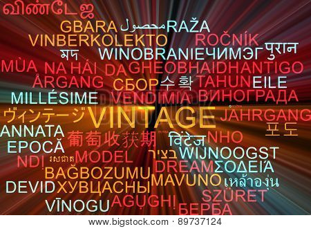 Background concept wordcloud multilanguage international many language illustration of vintage glowing light