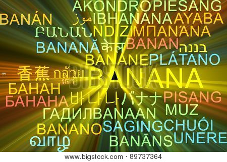 Background concept wordcloud multilanguage international many language illustration of banana glowing light