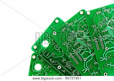 A lot of green PCB on a white