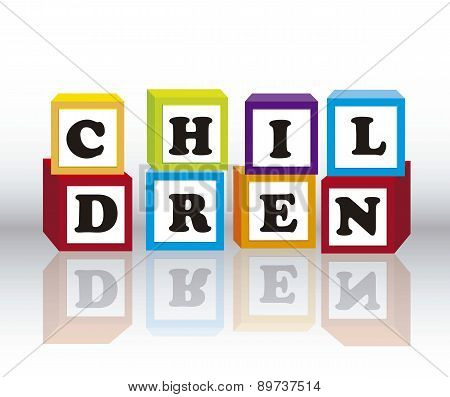 Children Blocks With Shadow Over Gray Background Vector Illustra