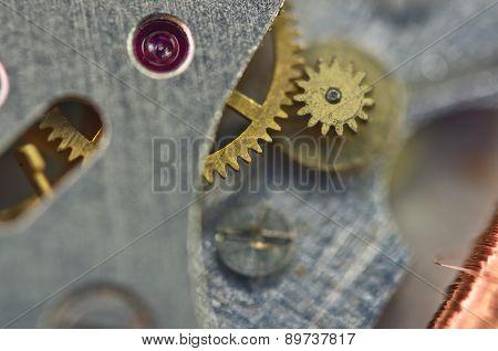 Metal Cogwheels A Clockwork. Macro