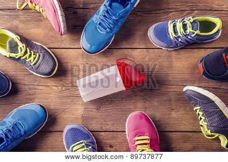 Running shoes on the floor
