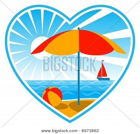 Beach Scene In Heart