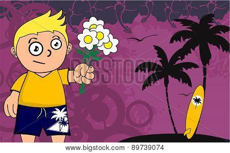 love surfer kid cartoon background