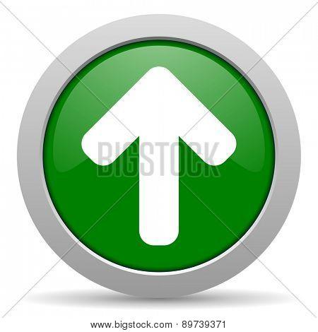 up arrow green glossy web icon