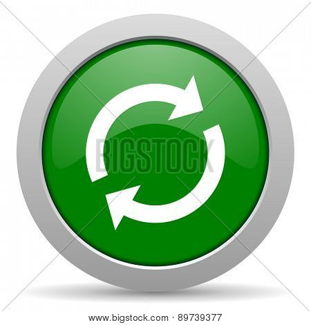 reload green glossy web icon