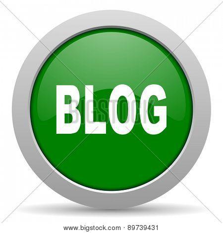 blog green glossy web icon