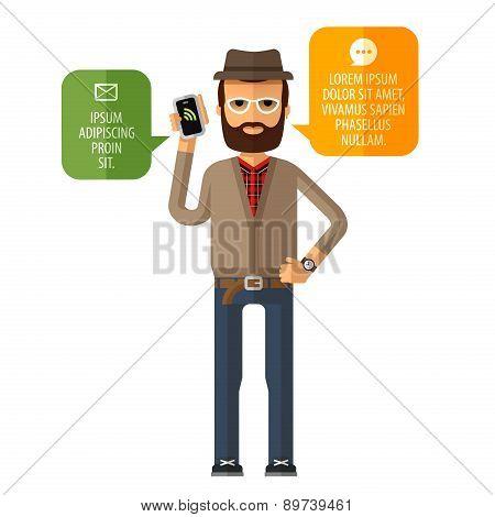 hipster vector logo design template. mobile cellular telephone or Internet, online icon.