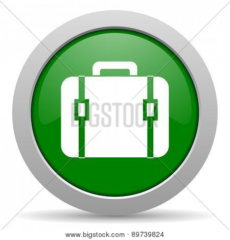 bag green glossy web icon