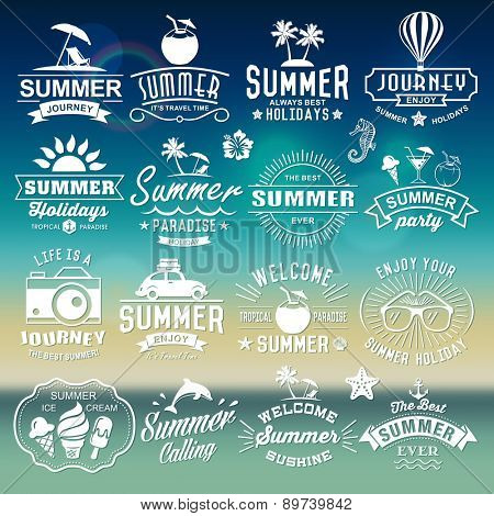 Summer typography plans. Summer logotypes set. Vintage outline components, logos, names, symbols, ob