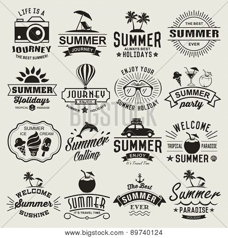 Summer logotypes set. Summer typography designs. Vintage design elements, logos, labels, icons, objects and calligraphic designs. Summer holidays.