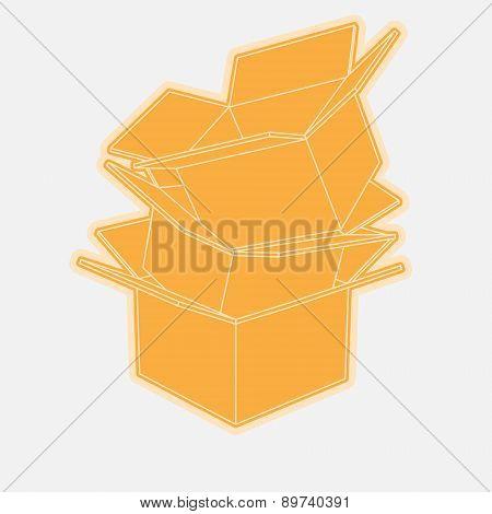 Cardboard boxes icon flat
