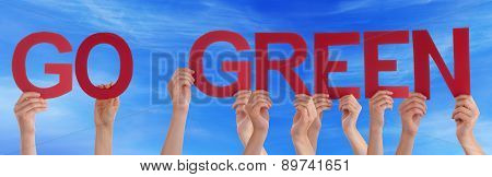 Hands Holding Red Straight Word Go Green Blue Sky