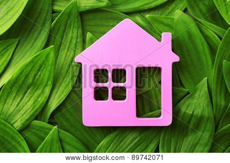 Wooden house on green leaves background