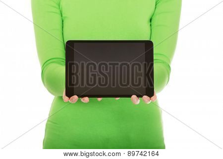 Caucasian woman presenting a tablet.
