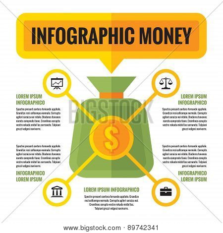 Infographic money dollar - vector concept. Finance economic infographic