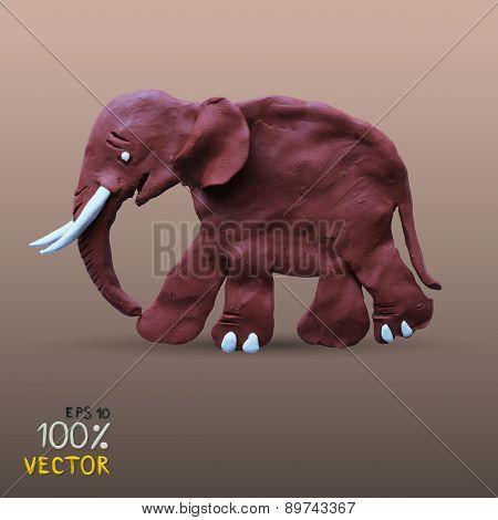 Plasticine textured elephant