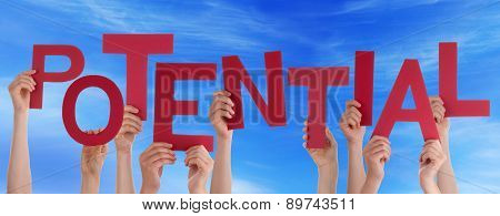 People Hands Holding Red Word Potential Blue Sky