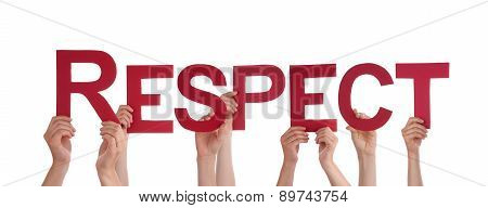 People Hands Holding Red Straight Word Respect