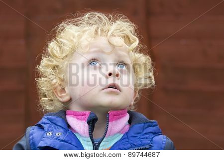 Little Boy With Golden Curly Hair Looking At The Sky