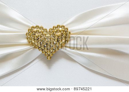Heart shape diamond on fabric