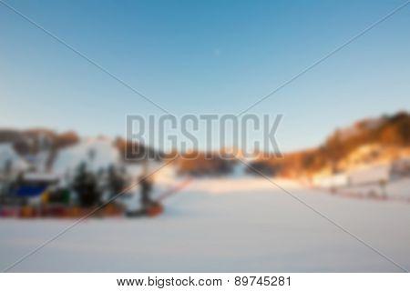 Abstract blur Mountain ski resort