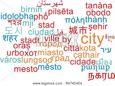 Background concept wordcloud multilanguage international many language illustration of city