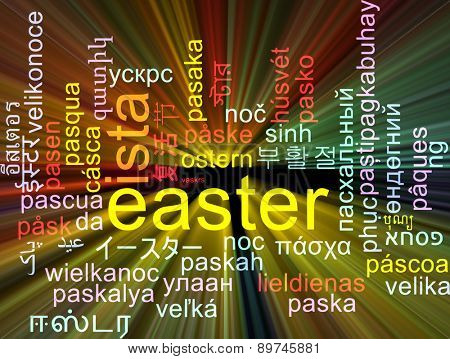 Background concept wordcloud multilanguage international many language illustration of Easter glowing light