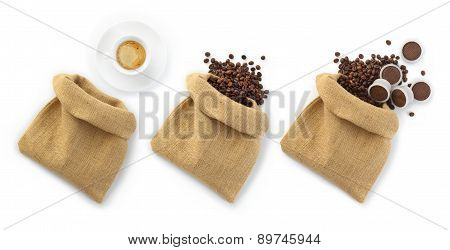 jute bags of coffee beans with a cup of coffee and capsules