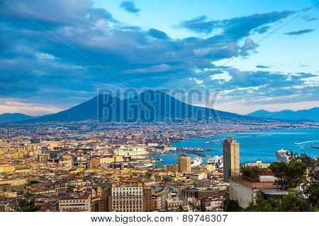 Napoli  And Mount Vesuvius In  Italy